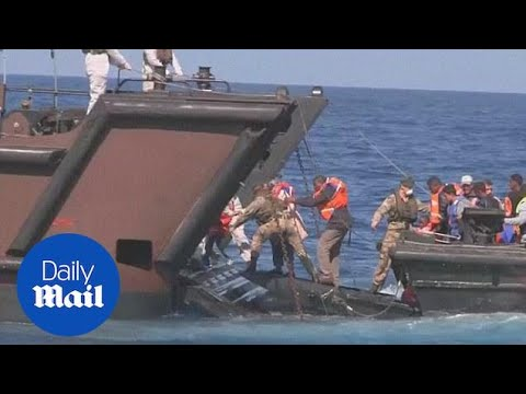 Royal Navy rescue 369 migrants in the Mediterranean Sea - Daily Mail