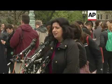 Farhana Khera and Neal Katyal outside the Supreme Court
