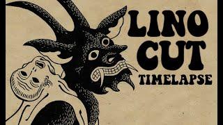 Lino cut timelapse. Lockdown 2020, Devil by Emils Salmins