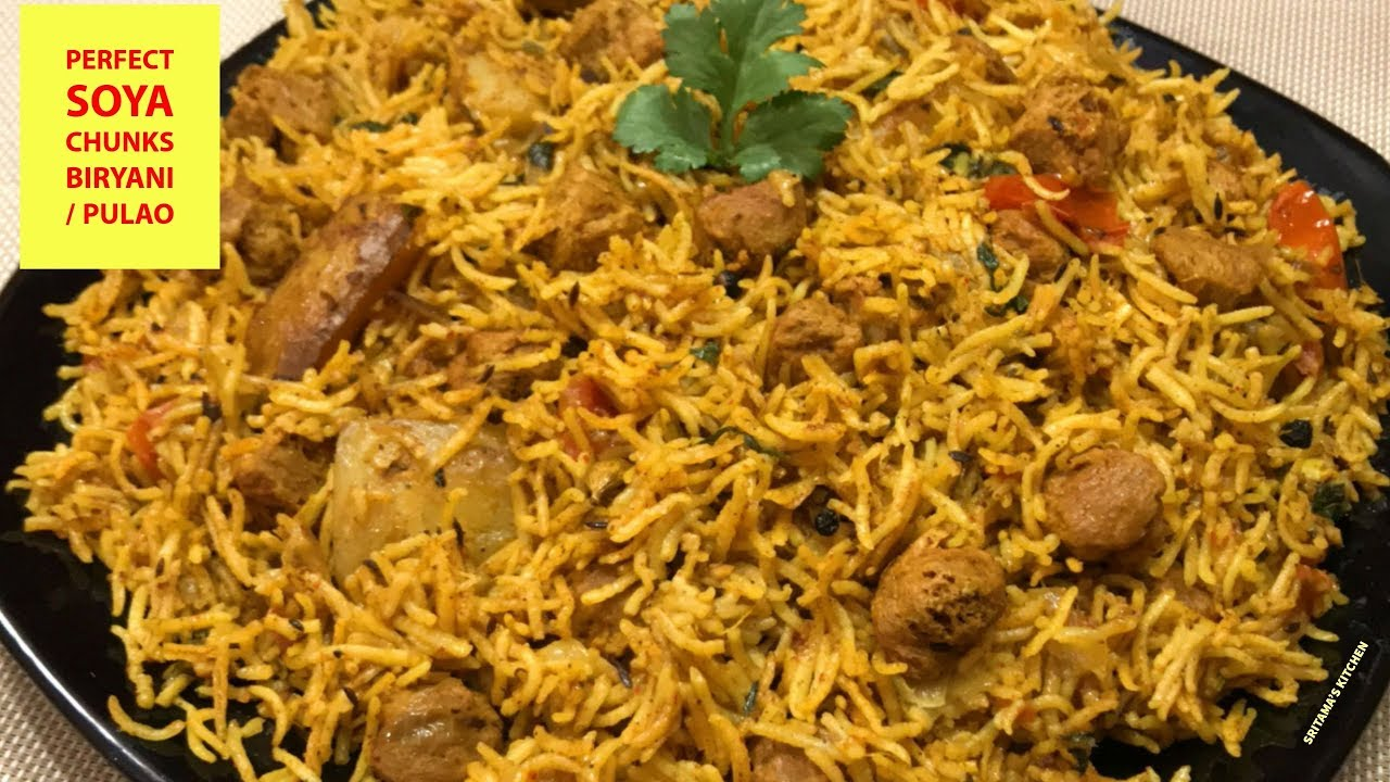 Soya Chunks Biryani Recipe South Indian Style Dandk