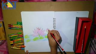 How to draw a lotus flower easily step by step for kids | Kids Drawing Tips