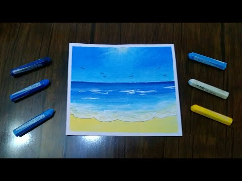 Beach Scenery Drawing With Oil Pastels // Beach Scenery Painting // Beach Scenery Painting Easy