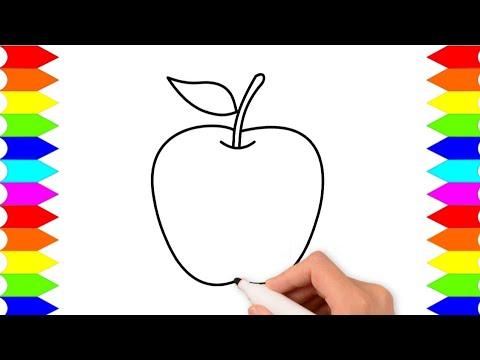 Cara Menggambar Buah Apel Belajar Menggambar Dan Mewarnai Anak Tk Dan Paud Youtube