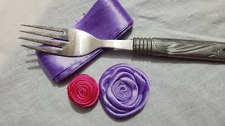 Gambar cover Amazing Easy Roes Trick Sewing Make With Ribbon Hand Embroidery Trick Flower