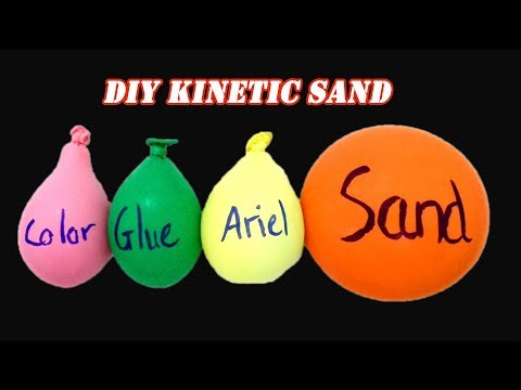 Making Kinetic Sand with Balloons Challenge! No DIY Slime
