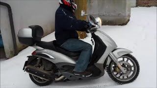 piaggio beverly 500 motorrad fahren bei tiefschnee tutorial 2016 driving motorcycle at deep snow