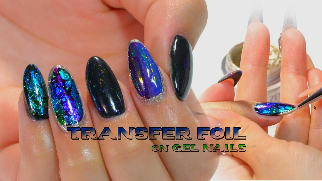 How to transfer Foil On Gel Nails - YouTube