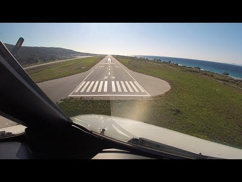 OLYMPIC/AEGEAN Airbus A320 Cockpit Action | Pilot's View Landing at RHODES, A320 VISUAL APP!