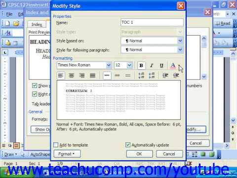 how to add table of contents in word 2003