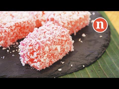 Rose Flavoured Sago Cake   Kuih Sago Rose   Bronok   Kuih Sagu [Nyonya Cooking]