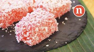 Rose Flavoured Sago Cake | Kuih Sago Rose | Bronok | Kuih Sagu [Nyonya Cooking]