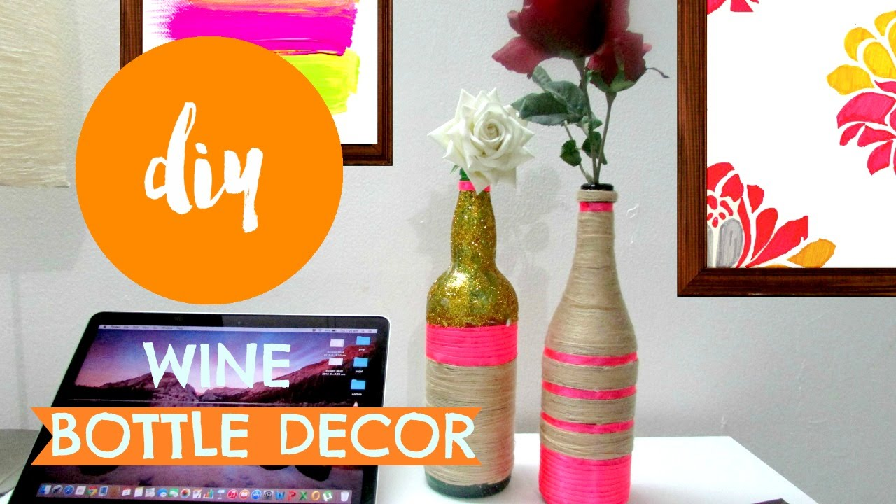 Diy yarn wrapped bottle vase room decor pin youtube floridaeventfo Gallery