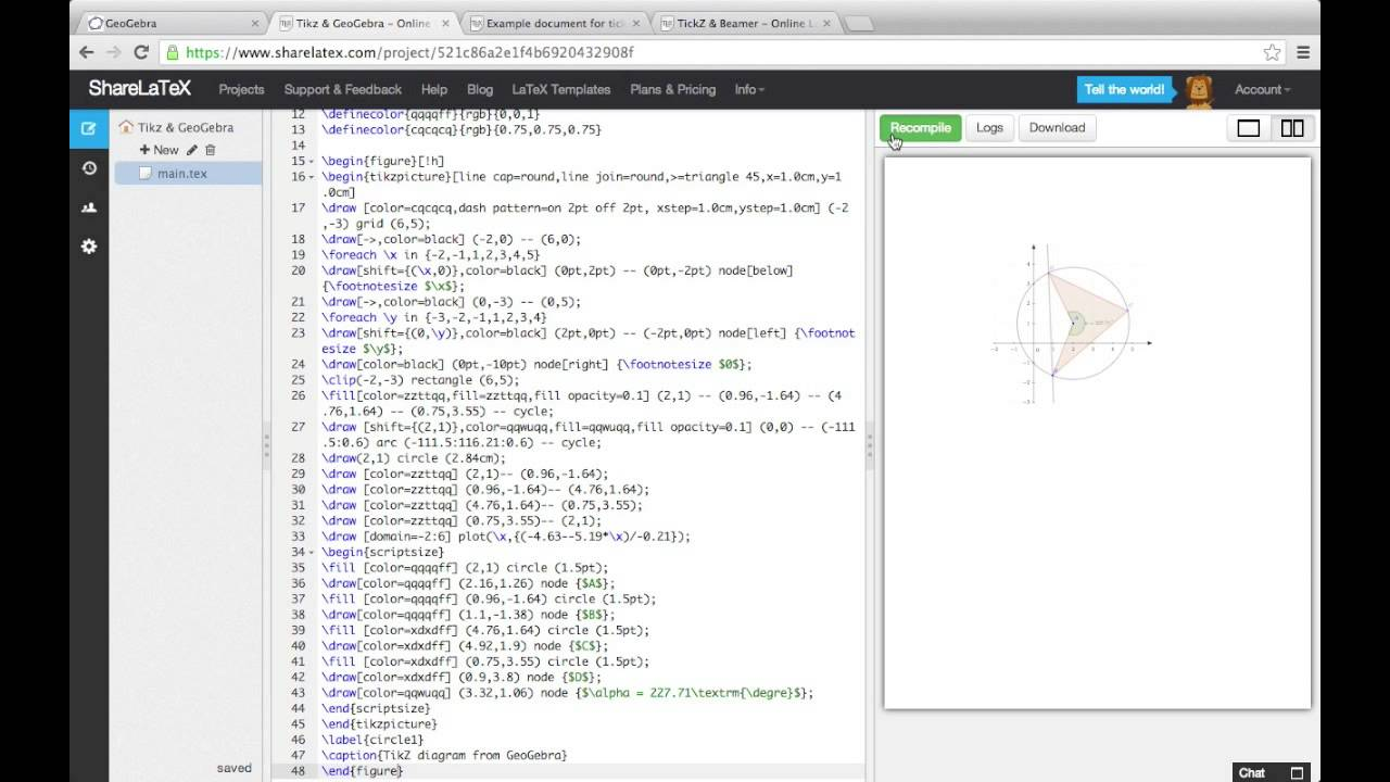Generating Tikz Code From Geogebra For Latex Documents