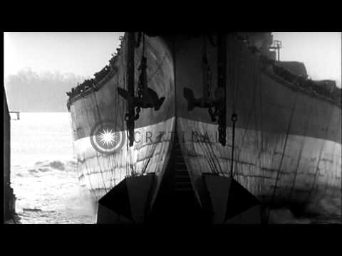 Launching of the USS Wisconsin (BB-64) at Philadelphia Navy Yard, December 7, 194...HD Stock Footage