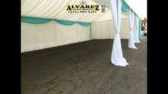 Alvarez party rental (tent 20x40 white and blue draping)