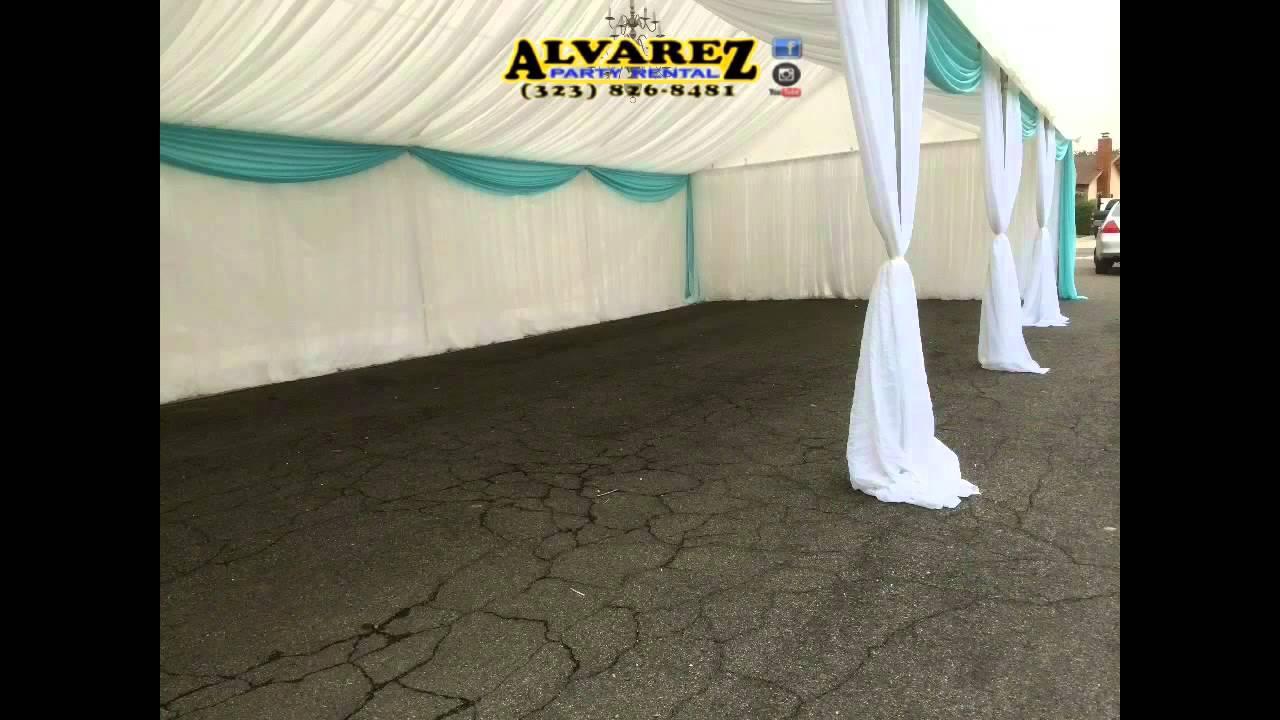 Alvarez Party Rental Tent 20x40 White And Blue Draping