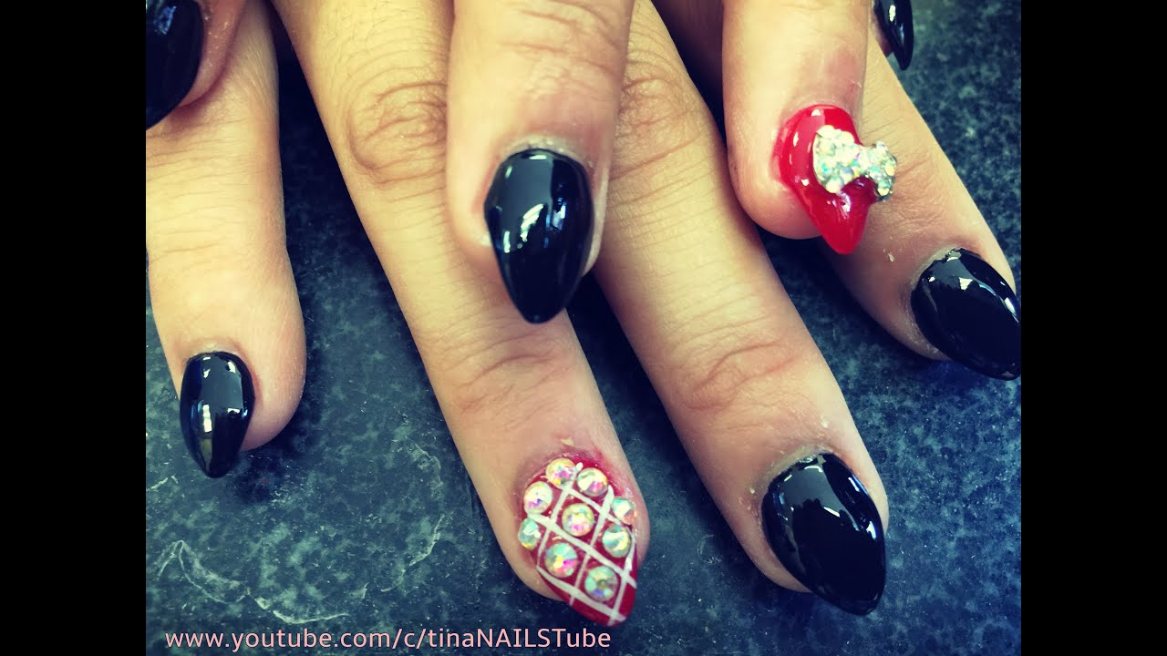 BLACK AND RED STILETTO NAILS - YouTube