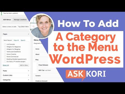 Add a Category in a WordPress Menu
