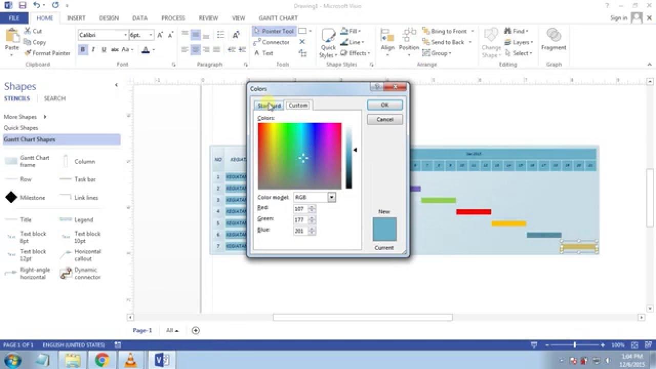 Cara membuat gantt chart di Microsoft Visio 2013 - YouTube
