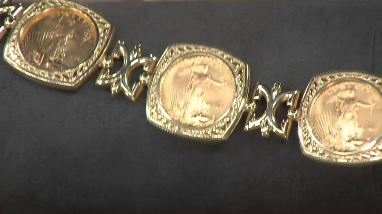 14k 22k Gold Solid Multi Liberty Coin Bracelet On Qvc