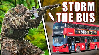 ATTACK A London Bus Battle Simulation   Wolverine MTW Airsoft HPA