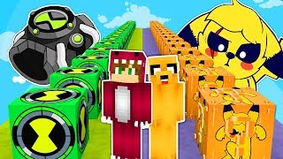 DESAFIO DE LOS LUCKY BLOCKS DE PIKACHU MIKE VS BEN10 ⚡😱 CARRERA LUCKY BLOCK