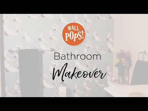bathroom makeover with peel stick wallpaper