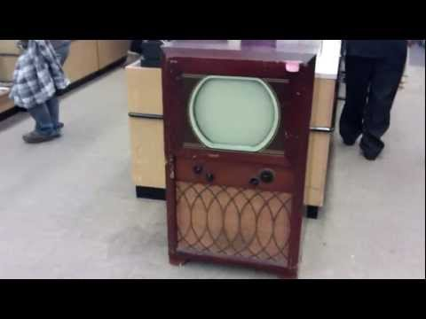 1949 Olympic B&W console TV at the thrift store