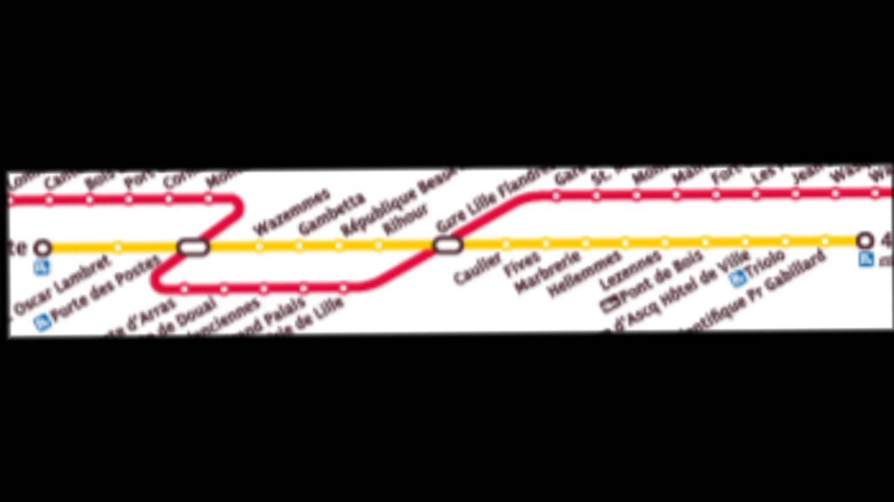 Transpole m tro ligne 1 trajet entre gare lille flandres - Station essence porte des postes lille ...