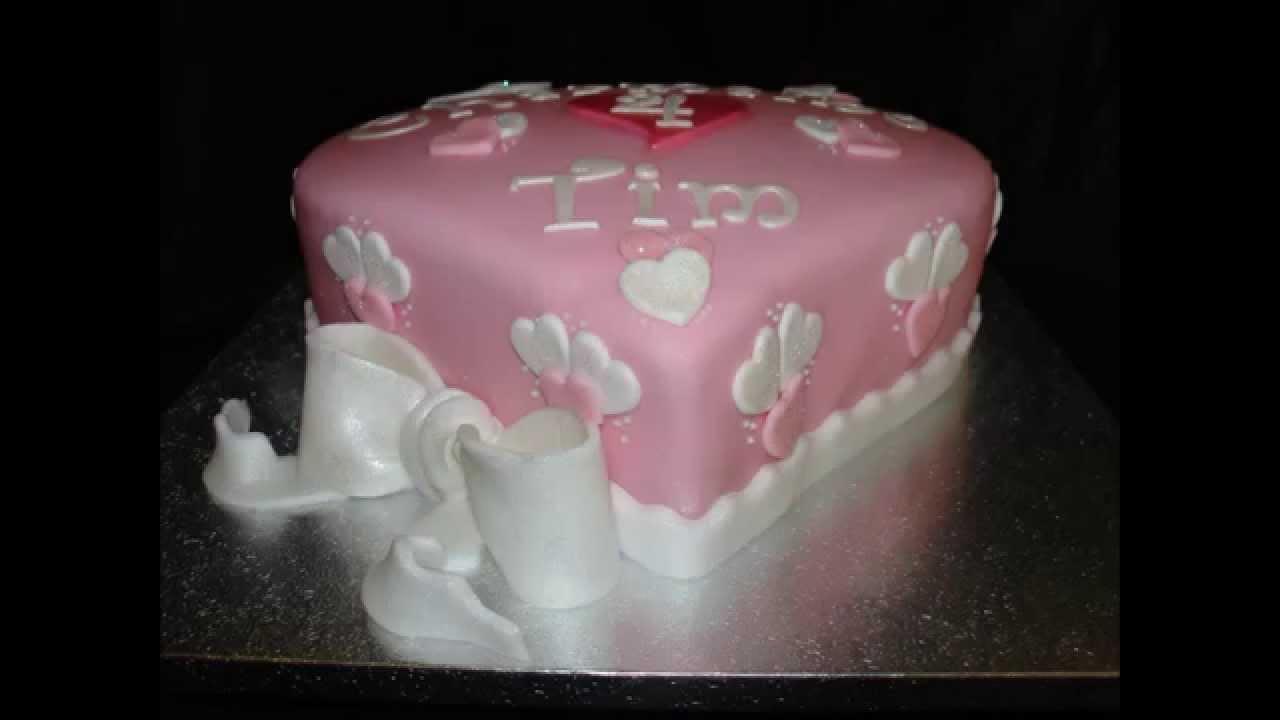 Heart Shape Anniversary Fondant Cake  YouTube
