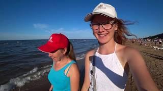 11.08.19 тёплое Азовское море в Кучугурах, грязевой вулкан, центральный пляж