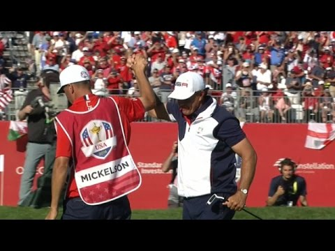 Phil Mickelson's birdie to halve match with Sergio Garcia at Ryder Cup