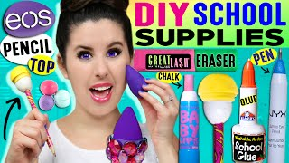 DIY Beauty School Supplies: EOS Pencil, Beauty Blender Eraser, Nail Polish Glue, Baby Lips Chalk!