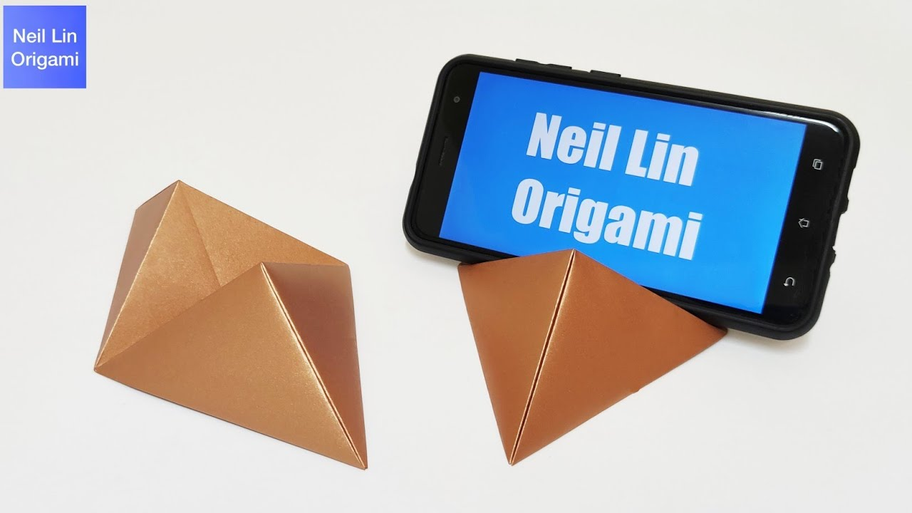 DIY - How To Make Paper Mobile Stand Without Glue - Origami Phone Holder Tutorial