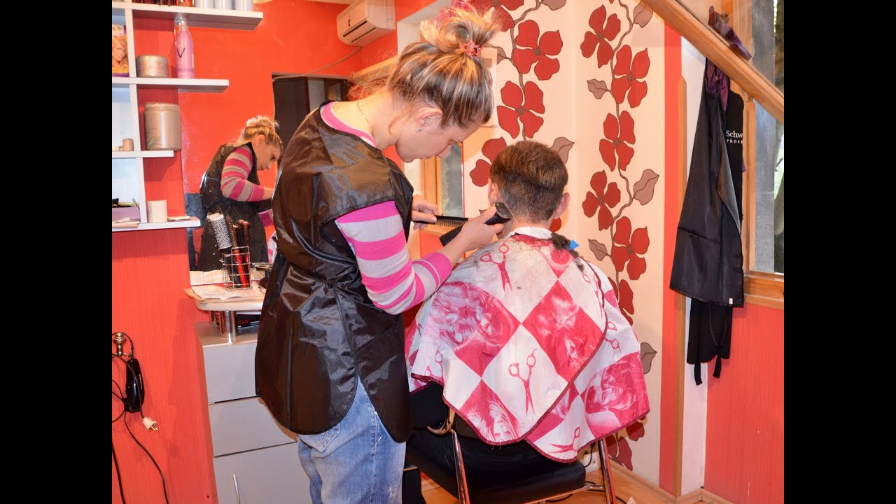 Haircut At The Lady Barber YouTube