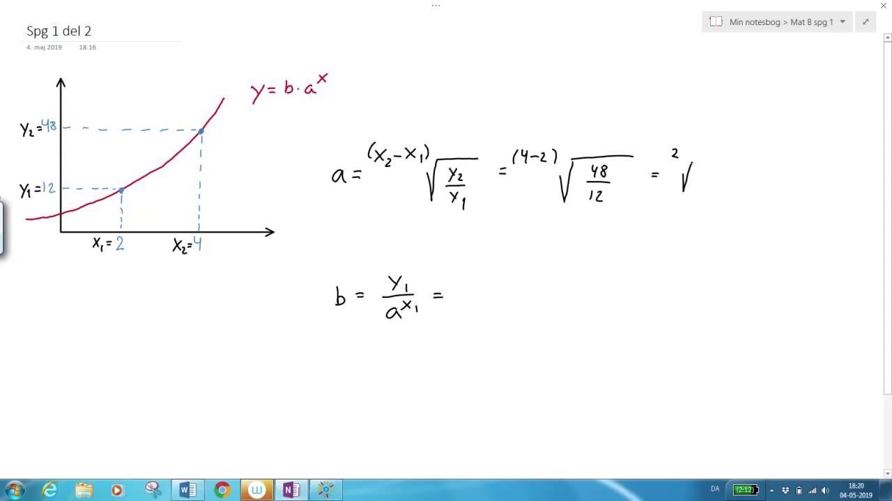 Eksponentiel funktion Ex på udregning af a og b