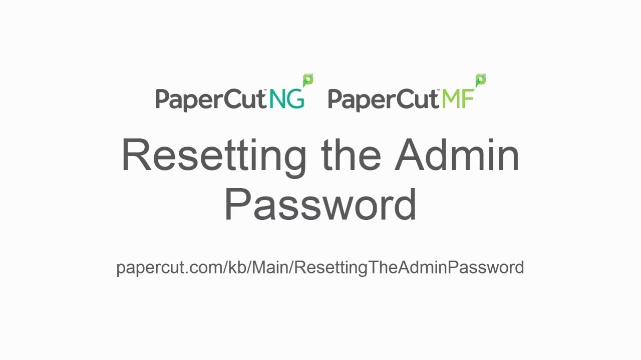 How to Reset admin password