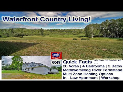 Waterfront Farm In Maine For Sale  Mattawamkeag River Homestead MOOERS REALTY 9049