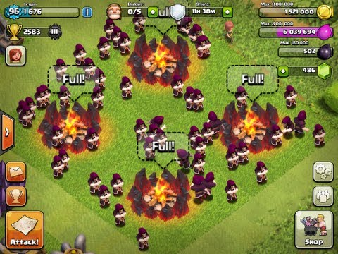 Clash Of Clans - 60 Level 6 Wizards Attack (Fail!)