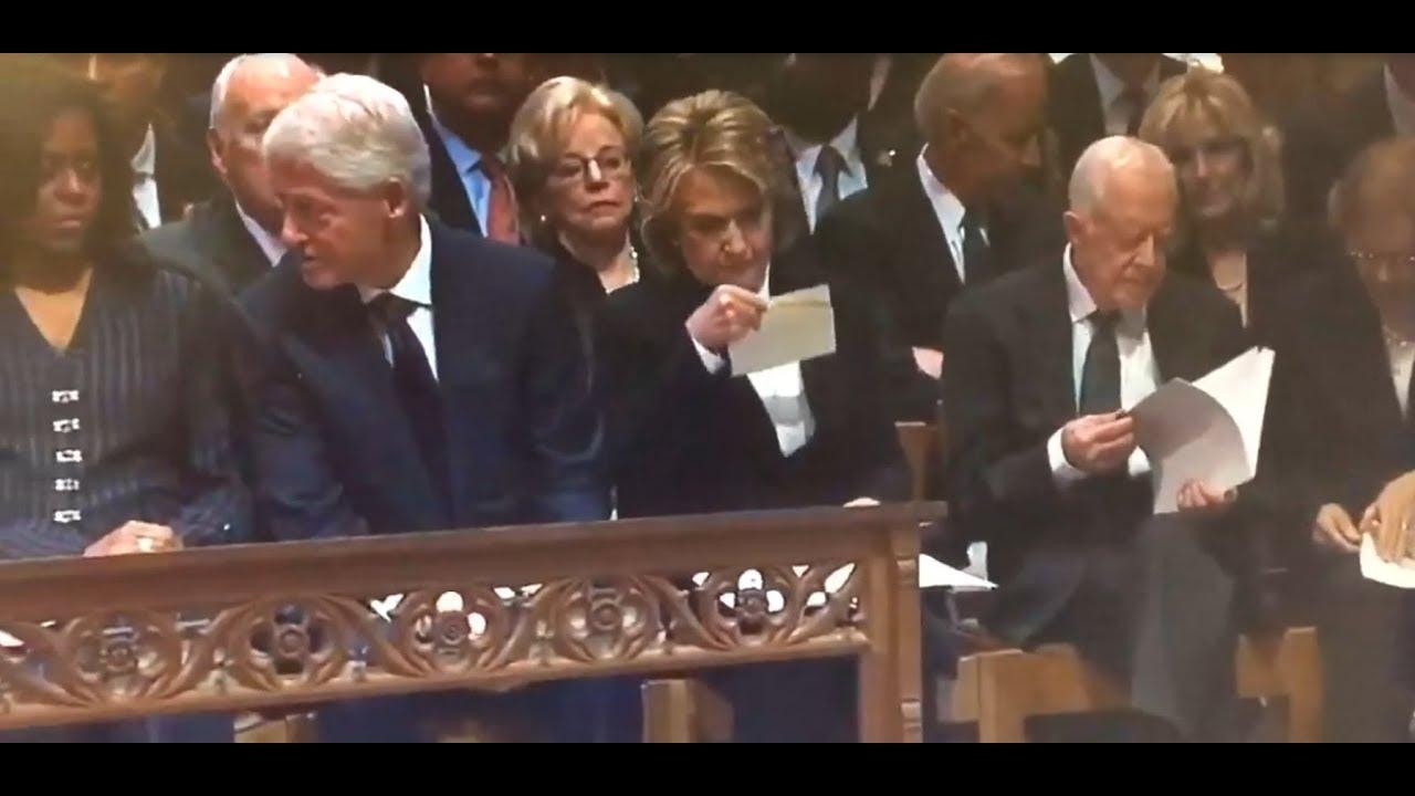 Hillary Clinton Receives Surprise Envelope At George H W Bush S