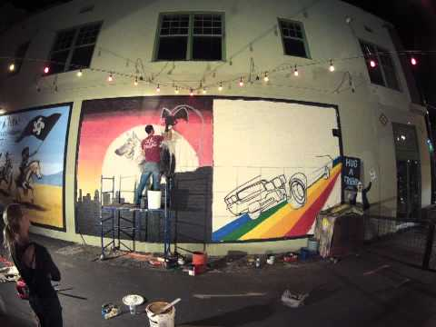 Joe Pagac - Time Lapse of Los Lobos and Indigo Girls mural on th Rialto.