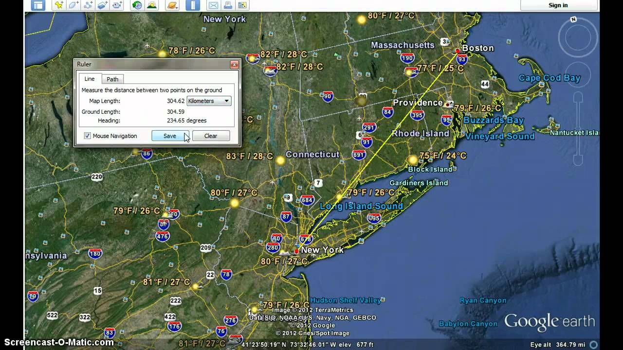 How To Make A LinePath On Google Earth YouTube - Nyc map google earth