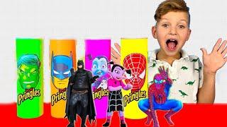 프링글스를 먹으면 무엇으로 변할까요?! 아드리아나 마법 프링글스 Making Pringles Super Hero   Collection of new Stories for Kids