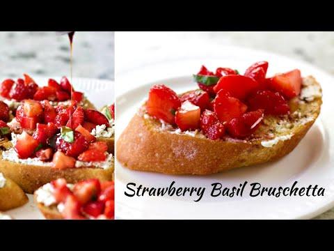 Strawberry Basil Bruschetta Appetizers