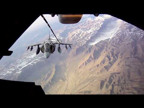 AV-8B HARRIER VSTOL Jets Air-Refueling by KC-10 EXTENDER Tanker in Afghanistan