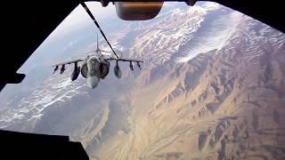 AV-8B HARRIER VSTOL Jets Air-Refueling by KC-10 EXTENDER Tanker in Afghanistan