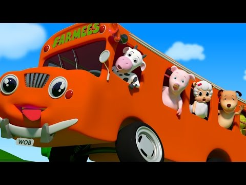 Wheels on the bus go round and round | 3D Nursery Rhymes for Kids | Baby Songs by Farmees S01E26
