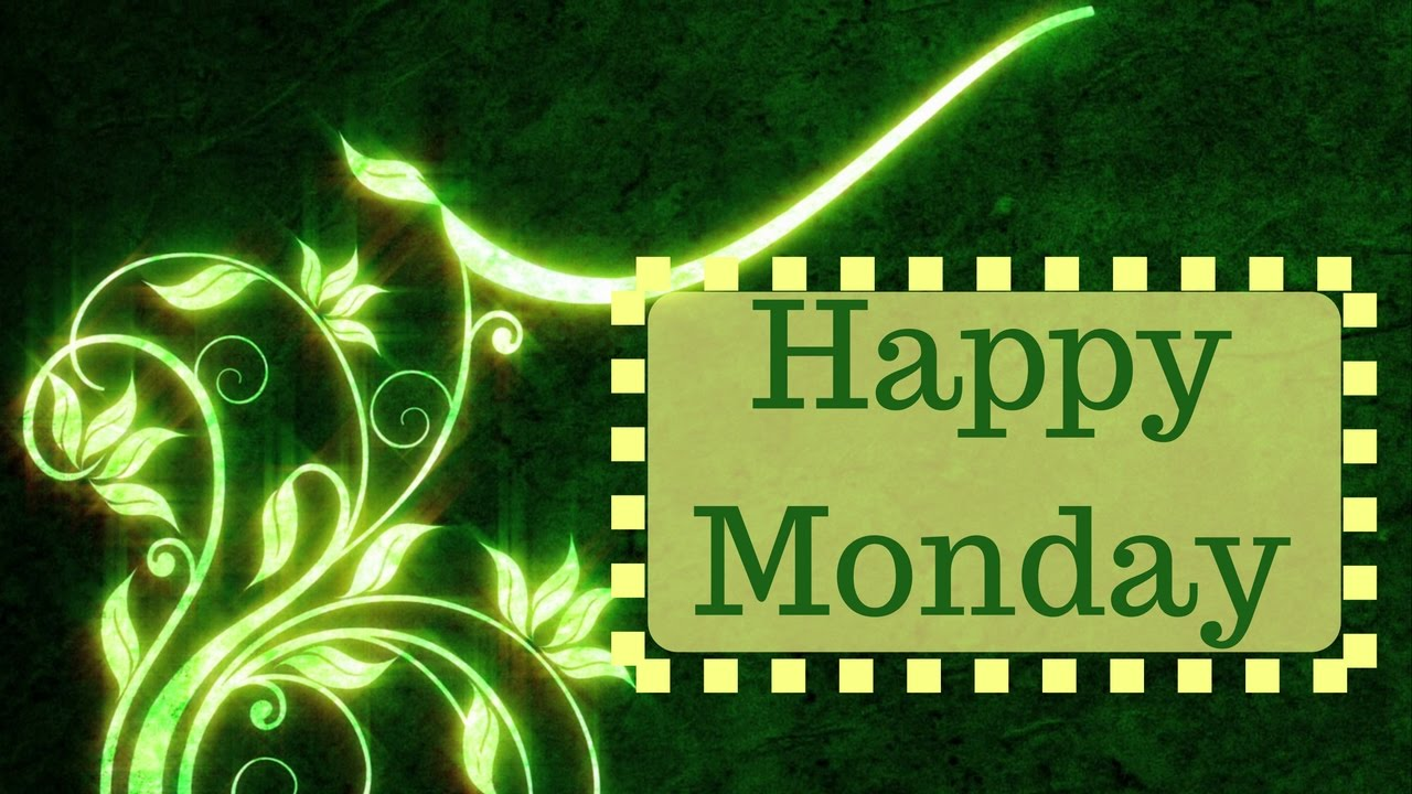 Happy Monday Morning Quotes Beautiful Green Floral Design Animation