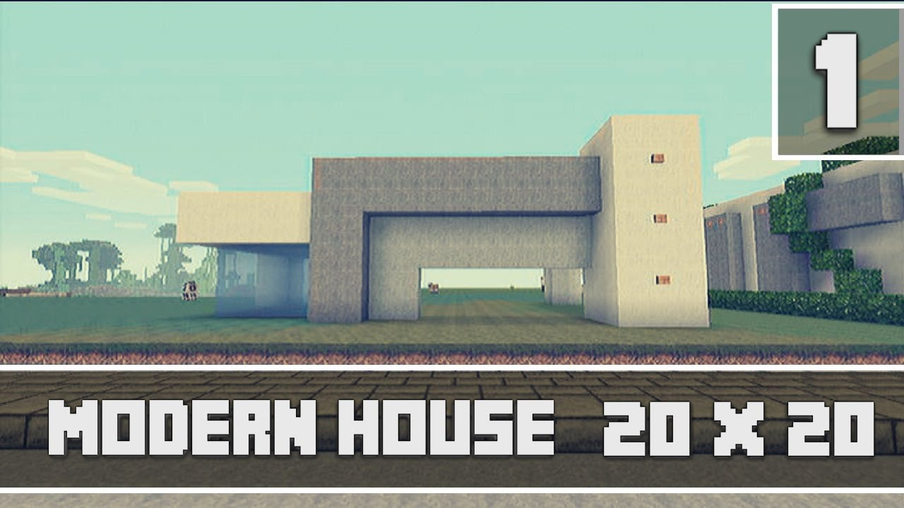 Minecraft xbox 360 modern 20x20 house tutorial part 1 2 for Modern house xbox minecraft