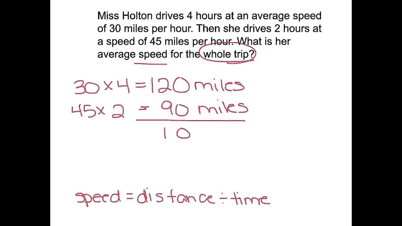 Average Speed Word Problems YouTube
